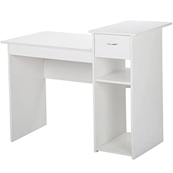 Pleasing Yaheetech Small Computer Desk Study Writing Table With Drawers And Printer Shelves Workstation For Small Space Home Office White Download Free Architecture Designs Scobabritishbridgeorg