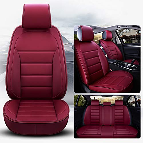 Leather Five-Seater Car Seat Cover-Waterproof PU Leather Cushion Anti-Slip Suede Backing-Universal Fit for Both Fabric And Leather Seats Easy To Clean,Red: