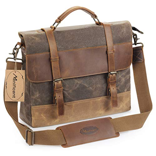 Manificent Men's Messenger Bag, 15.6 Inch Vintage Waxed Canvas Genuine Leather Large Satchel Shoulder Bag Waterproof Canvas Leather Computer Laptop Bag,Briefcase Tablet Messenger Bag (Brown) ()