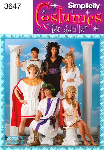 Simplicity Andrea Schewe Pattern 3647 Misses, Men's and Teens Greek Inspired Costumes Sizes XS-X-M-L-XL Chest (Halloween Toga Costume)