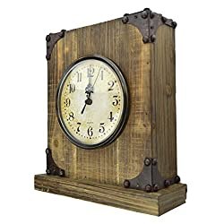 Lulu Decor, Shabby Chic Rustic Wood Tabletop Clock with Key Holder in Hidden Area (Desk Clock)