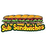 """SUB SANDWICHES 12"""" Concession Decal Sign Cart Trailer Stand Sticker Equipment - Sticker Graphic - Auto, Wall, Laptop, Cell Sticker"""