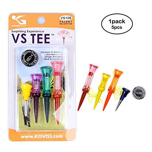 KOVISS Flexible Original Spring VS Golf Tees 5EA & Ball Marker Set VS108