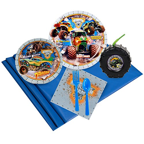 BirthdayExpress Monster Jam 3D Truck Party Supplies Pack with Tire Favor Cups (16) -