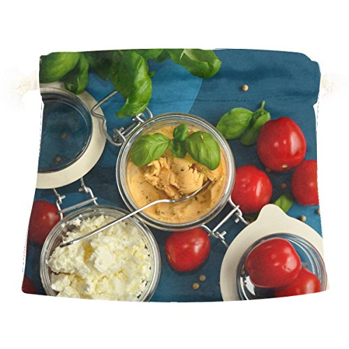 Tomatoes Feta Cheese Basil Vegetables Cute Colorful Candy Gift Present Wrap Drawstring Bag