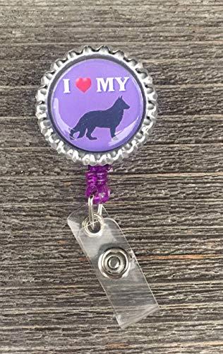Purple Vet Retractable Badge Reel German Shepherd ()