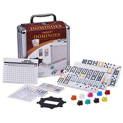 Mexican Set Train - Dominoes Set - Mexican Train Dominoes Double 12 Domino Game with Aluminum Case