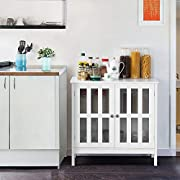 Yaheetech Sideboard Buffet Storage Cabinet with Glass Door, Wooden Console Table Server Display Kitchen Dining Room Entryway Furniture White