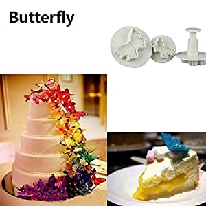 Kitchen Ware LLC New Style 3Pcs Butterfly Flower Cake Fondant Cookie Decorating Plunger Mold Accessoires Patisserie Cakecookie Decorating Tools