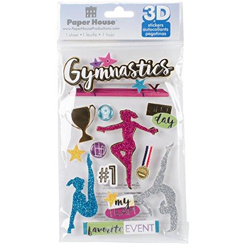 Gymnastics Scrapbook Stickers - Paper House STDM282E 3D Stickers 4.5