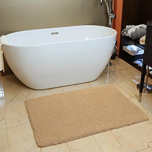 Bath Mat Bathroom Rug Non-slip Soft Microfiber Khaki Shower Rugs 32 x 47 inch for Bathroom Bedroom Living Room (Two Step Foot Rectangular Pull)