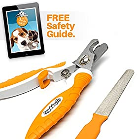 Professional Dog Nail Clippers - Ergonomic Handle, Angled Head and Quick Sensor Guard - Precision Trimming From Chihuahua To Great Dane - Plus Grooming EBook Guide and Nail File