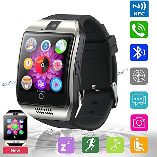 Pandaoo Bluetooth Smart Watch Phone Smart Watch Mobile Phone Unlocked Universal GSM Bluetooth 4.0 NFC Music Player Camera Calendar Stopwatch Sync for Android iPhone Google Huawei Smartphones (Silver)
