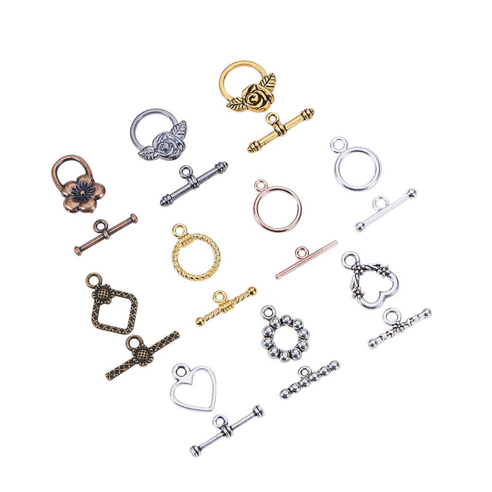 PH PandaHall 100 Sets Mixed Color Tibetan Style Toggle Clasps for Necklace Jewelry Making DIY Crafts Findings by PH PandaHall