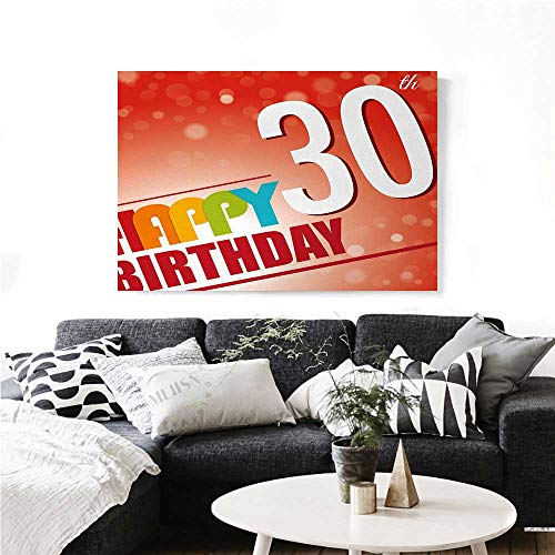 - homehot 30th Birthday Canvas Wall Art for Bedroom Home Decorations Invitation to The Birthday Party in Colorful Retro Style Poster Image Print Art Stickers 20