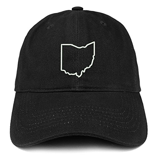 Trendy Apparel Shop Ohio State Outline State Embroidered Cotton Dad Hat- (Ohio Cotton Cap)