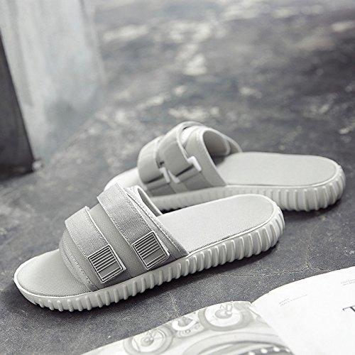 Xing Lin Sandalias De Hombre Nuevo Acolchado Zapatos De Hombre Zapatillas Tendencia Palabra Pantuflas Sandalias Zapatillas Casual Deporte Masculino gray