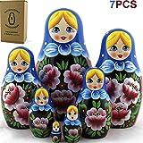 Nesting Babushka Dolls - Handmade Rose Hand-painted - Matruska Stacking 7 Dolls - Munecas rusas - Home Decor Decorations