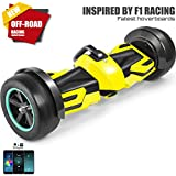 Spadger G-F1 Racing Hoverboard, BLE Speaker, LED Lights & Smart App Enable, 350W Dual Motors, Racing Roared Accelerating, Detachable Battery, UL 2272 Certificate, Both Kids & Adults [Yellow]