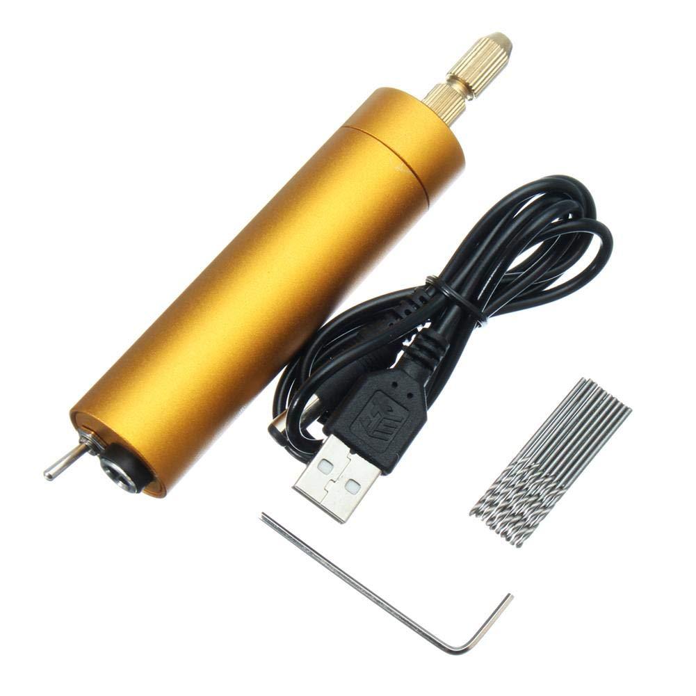 Mini kleine elektrische Handbohrmaschine, Bohrmaschine mit 10 Spiralbohrer,Mikro Handbohr Drillbohrer fü r Hobby,DIY Purebesi123