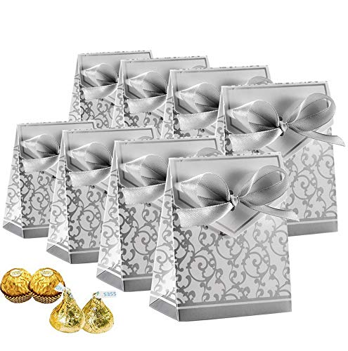 Mikash Candy Boxes, Gift Boxes Cake Boxes Candy Bag with Gift Ribbons for Wedding Party Favor Party Tion Easter, Silver, 50 PCS | | Model WDDNG - 1346 ()