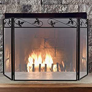 Pinty protector de chimenea de hierro forjado con 3 paneles para chimenea de beb dise o de - Protector de chimenea ...