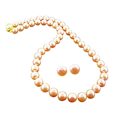 Jpearls Pink Diya Pearl Necklace Necklaces at amazon
