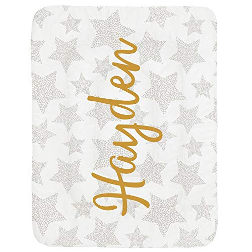 Carousel Designs Personalized Custom French Gray Galaxy Stars Crib Comforter Hayden Idea - Organic 100% Cotton Baby Comforter - Made in The USA