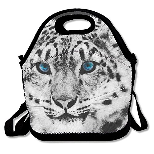 Most Fashion Maker Snow Leopard Lunch Bags Insulated Travel Picnic Lunchbox Tote Handbag Shoulder Strap Women Teens Girls Kids Adults