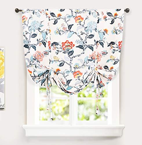 DriftAway Ada Botanical Print Lined Flower Leaf Tie Up Curtain Thermal Insulated Blackout Window Adjustable Balloon Curtain Shade for Small Window Rod Pocket Single 45 Inch by 63 Inch Multi (Cheap Tie Curtains Up)