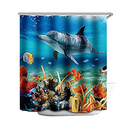 Coral Shower Curtain Lovely Dolphin Swimming in Sea Design for Kids Bathroom Bright and Polyester with 12 Rings
