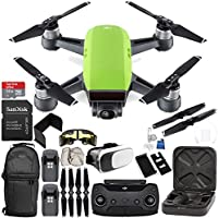 DJI Spark Portable Mini Drone Quadcopter (Meadow Green) + DJI Spark Remote Controller EVERYTHING YOU NEED Essential Bundle