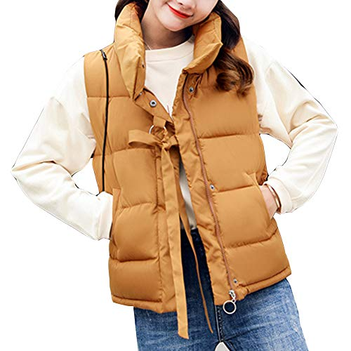 Padded Sleeveless Jacket Warm Up Zip Stand Camel Collar Vest Gilet Quilted Women's Puffer Uvgxw6