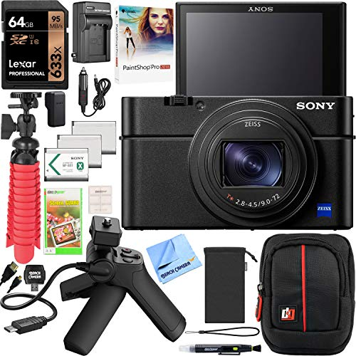 Sony Cyber-Shot RX100 VII RX100M7 Premium Compact Camera DSC-RX100M7 Vlogging Bundle with Shooting Grip Tripod VCT-SGR1, 64GB, 3X Battery + Deco Gear Travel Case Accessory Set & Photo Video Software