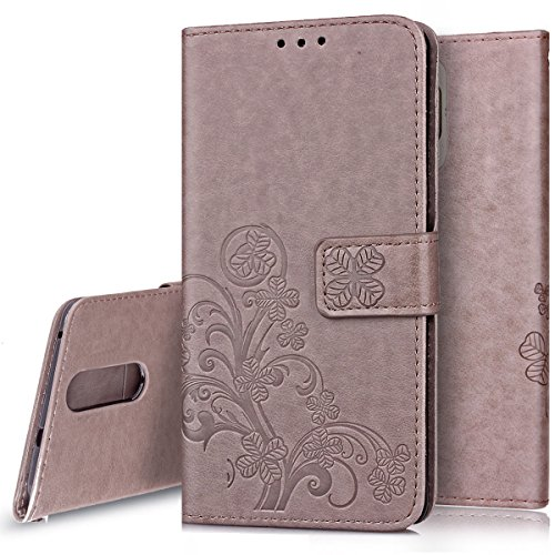 Price comparison product image Huawei Mate 9 Pro Case, Huawei Mate 9 Pro Wallet Case,PHEZEN Four Leaf Clover Flower Design PU Leather Wallet Case Stand Flip Case with Credit Card Slot for Huawei Mate 9 Pro, Grey