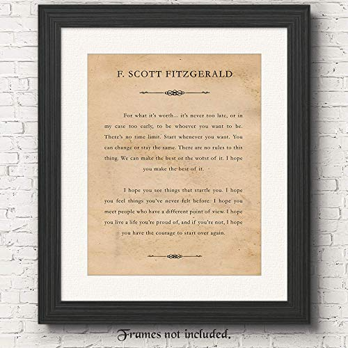 F Scott Fitzgerald- For What It's Worth- Set of 1 (One 11x14) Unframed Typography Book Page Poster Print- Great Wall Art Book Quotes Decor Gifts Under $15 for Home, Office, Man Cave, Library, Teacher