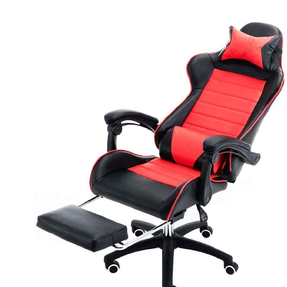 EAHKGmh Office Chair, PC Gaming Chair Desk Chair Executive PU Leather Computer Chair Lumbar Support with Footrest Modern Task Rolling Swivel Chair,Red by EAHKGmh