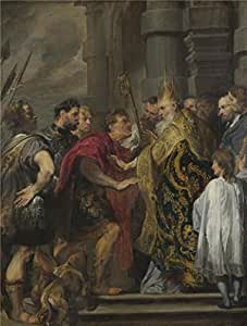 'Anthony van Dyck - St Ambrose barring Theodosius from Milan Cathedral,about 1619-20' oil painting, 16x21 inch / 41x54 cm ,printed on Linen Canvas ,this Vivid Art Decorative Canvas Prints is perfectly suitalbe for Nursery artwork and Home gallery art and Gifts