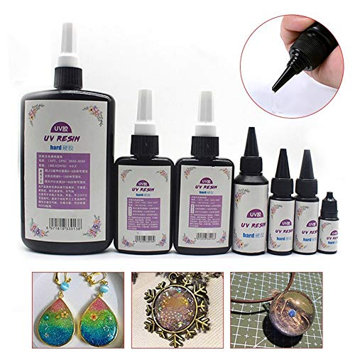 lightclub DIY UV Ultraviolet Resin Cure Solution Quick-Drying Sunlight Activated Hard Glue for Casting Coating Jewelry Making Garment Accessories Encapsulate Objects Resin Paintings 10g by lightclub (Image #2)