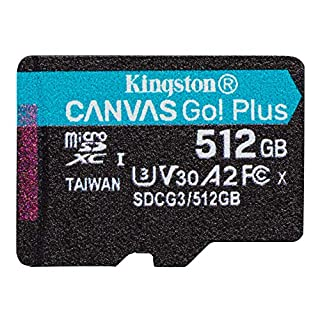Kingston 512GB microSDXC Canvas Go Plus 170MB/s Read UHS-I, C10, U3, V30, A2/A1 Memory Card + Adapter (SDCG3/512GB)