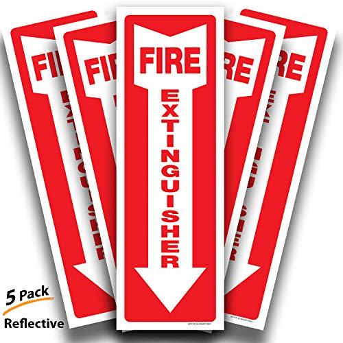 (Fire Extinguisher Reflective Sticker Sign for Office & Business – 5 Pack 4x12 – Premium Self-Adhesive Vinyl, Laminated for Ultimate UV, Weather, Scratch, Water and Fade Resistance, Indoor and Outdoor)