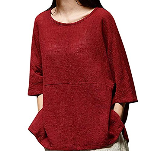 Women's Blouse,Autumn Casual Loose Half Sleeve Round Collar Cotton Linen Tops Shirts by-NEWONESUN