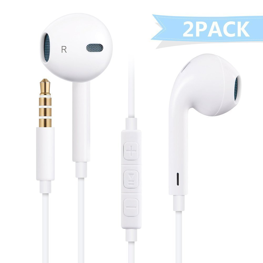 Premium Earbuds Earphones Headphones Meld with Stereo Mic&Remote Control for iPhone iPad iPod Samsung Galaxy and More Android Smartphones Compatible With Wired 3.5mm White Headset (White)