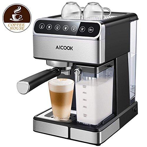 (AICOOK Espresso Machine, Barista Espresso Coffee Maker with One Touch Digital Screen, 15 bar Pump and Automatic Milk Frother, Cappuccino maker, Latte)