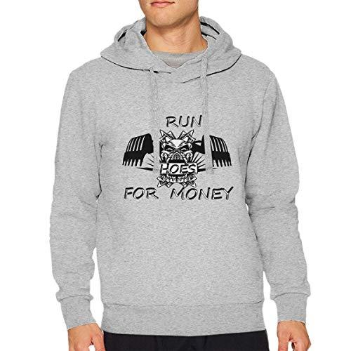 Dddjhsdjdhdfh Man I Run Hoes for Money Particular Drawstring Hoodies L Gray ()