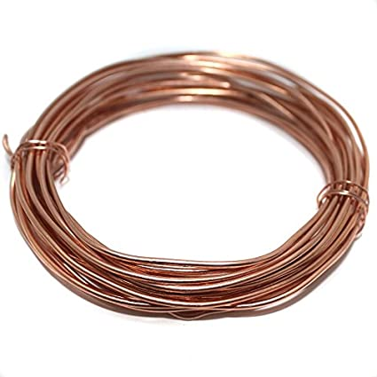 Beadsnfashion Brass Copper Craft Wire DIY Wire for Jewellery Making, Beading Wire, Craft Work, Flower Making, Hobby Crafts and School Crafts Project, 5 Mtrs, 16 Gauge Wire Thick (1.60mm)