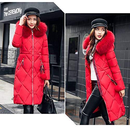 Juleya Giacca Donna Invernale Cappotto Cappuccio Parka A Tinta M Rosso Da Tasca Manica Colori Cerniera Vento Con Lunga 6 Unita Soprabito 3xl rPrAqftw
