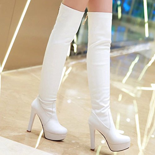 AIYOUMEI Womens Stiletto High Heels Round Toe Platform Winter Over The Knee Boots White 2vw5g67