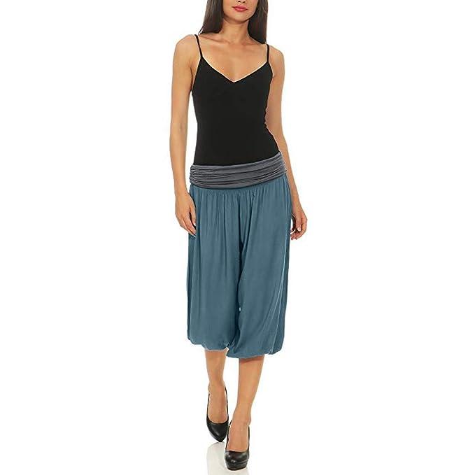RISTHY Harem Pantalón Corto Pantalones Anchos de Piernas Anchas Baggy Pantalones de Yoga 3/4 Cintura Alta Suelta Holgados Verano Boyfriend Aladin ...