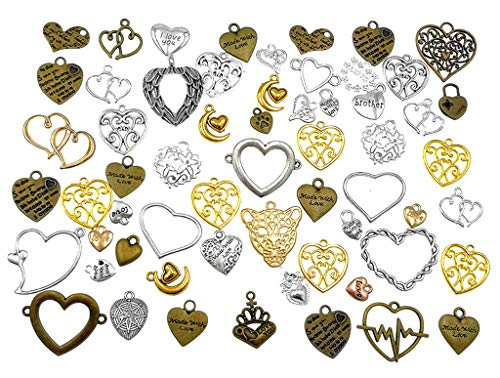 Kinteshun Love Heart-Shaped Charm Assorted Colors Multistyle Pendant Connector for DIY Bracelet Necklace Jewelry Making Accessaries(100gram)